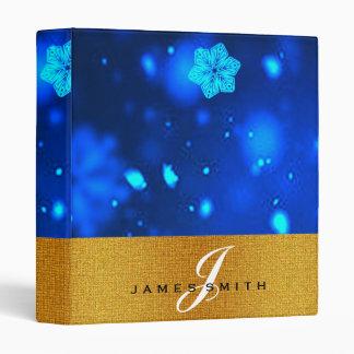 Personalized Blue Snowflake Faux Confetti Glitter Binder