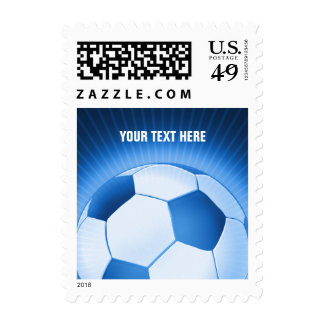 Personalized Blue Soccer Ball (football) Postage