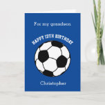 """Personalized Blue Soccer Card<br><div class=""""desc"""">A blue soccer birthday card,  which you can easily personalize with his name and age if it's a different age. The inside reads a birthday message,  which you can easily edit as well. You can personalize the back of this soccer birthday card with the year. Great for soccer lovers.</div>"""
