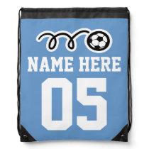Personalized blue soccer drawstring backpack bag
