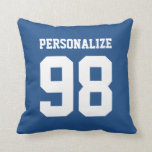 "Personalized blue sport jersey number throw pillow<br><div class=""desc"">Personalized blue sports jersey number throw pillow. Customizable background color. Cute home decor for men women and kids. Create your own with school team name or quote for baseball,  basketball,  volleyball,  ice hockey,  softball,  soccer,  football player etc. Double sided design. Cool gift idea for teen boy.</div>"
