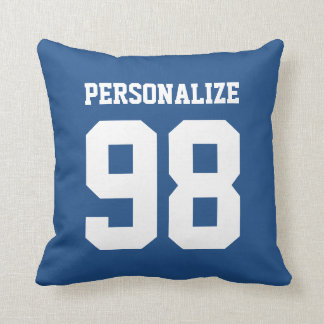 Personalized blue sport jersey number throw pillow