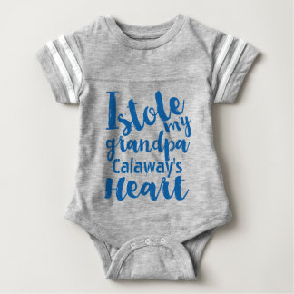 Personalized Blue Sports Stole My Grandpas Heart Baby Bodysuit