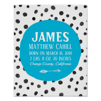 Personalized blue spot birth poster print