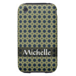 Personalized blue square pattern on khaki tough iPhone 3 cover