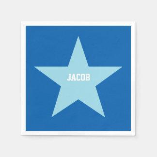 Personalized Blue Star Print Paper Napkin