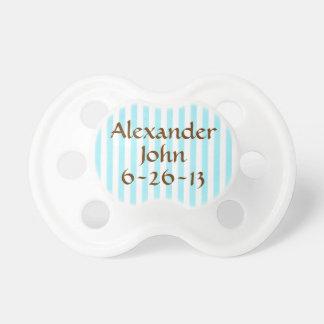 Personalized Blue Stripe Baby Boy Binky Custom Pacifier