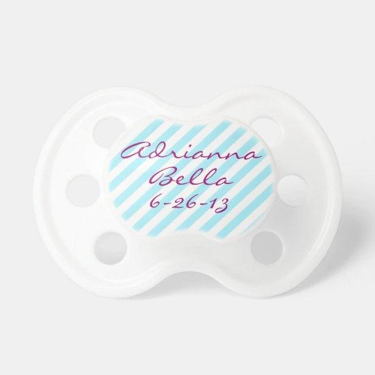 Personalized Blue Stripe Baby Girl Binky Custom Pacifier