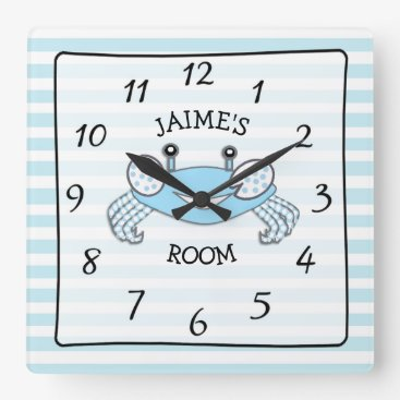 Personalized Blue Striped Baby Boy Name Crab Clock
