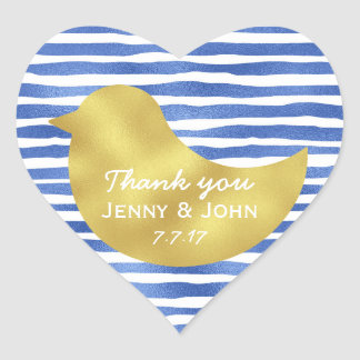 Personalized Blue Stripes Gold Heart Glossy Heart Sticker