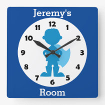 Personalized Blue Superhero Boy Kids Room Square Wall Clock