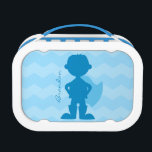 """Personalized Blue Superhero Boy Silhouette Kids Lunch Box<br><div class=""""desc"""">Personalized Blue Superhero Boy Silhouette Lunch Box with Light Blue Chevron Stripe Background. Design on both sides of superhero boy silhouette in dark blue with cape and boots. Modern and stylish superhero boy school supplies. Personalize with name. Lunch box available with many different color trims.</div>"""