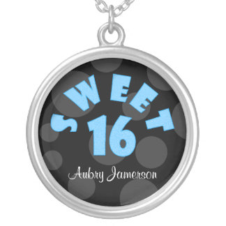 Personalized Blue Sweet 16 Necklace