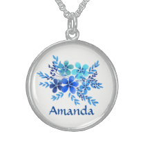 Personalized Blue Teal Name Flowers Sterling Silver Necklace