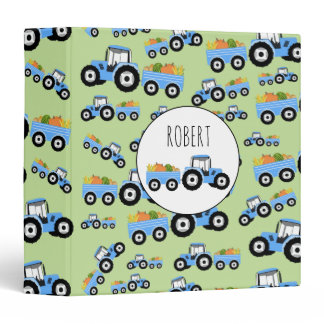 Personalized Blue Tractor Truck Farm Produce 3 Ring Binder