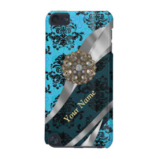 Personalized blue vintage damask pattern iPod touch 5G cover