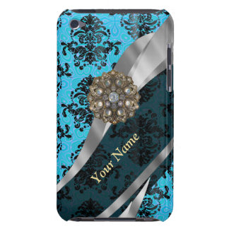 Personalized blue vintage damask pattern iPod touch Case-Mate case