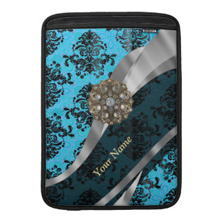 Personalized blue vintage damask pattern MacBook sleeve