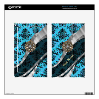 Personalized blue vintage damask pattern decals for kindle fire
