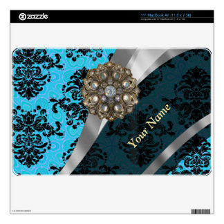 Personalized blue vintage damask pattern skin for MacBook air