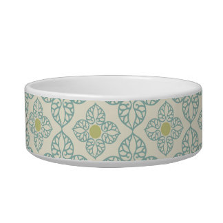 Personalized blue vintage floral cat pet food bowl