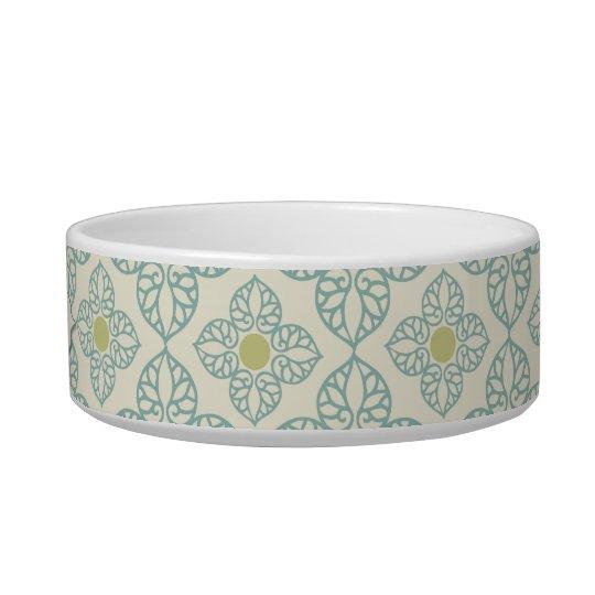 Personalized blue vintage floral cat pet food bowl