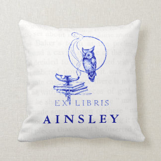 Personalized Blue Vintage Owl Collage Throw Pillow
