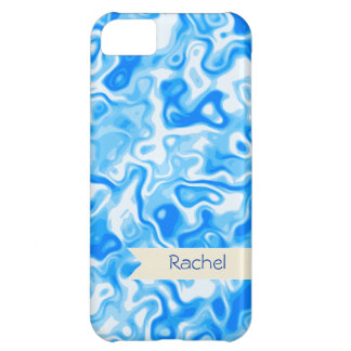 Personalized Blue Water texture - beige name tag iPhone 5C Cover