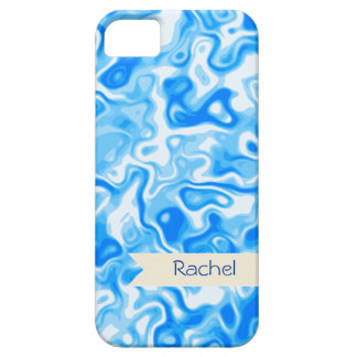 Personalized Blue Water texture - beige name tag iPhone SE/5/5s Case