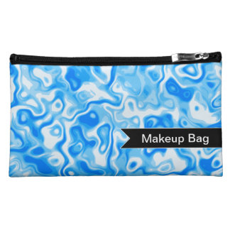 Personalized Blue Water texture - black tag Cosmetic Bag