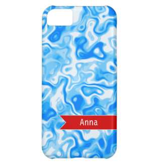 Personalized Blue Water texture - red name tag Case For iPhone 5C
