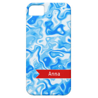Personalized Blue Water texture - red name tag iPhone SE/5/5s Case