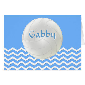 Personalized Blue White Chevron Volleyball Cards