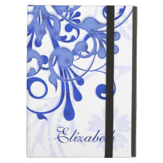 Personalized Blue White Elegant Floral Cover For iPad Air