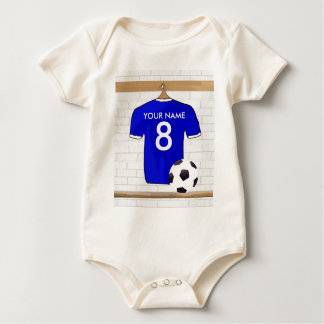 Personalized Blue White Football Soccer Jersey Baby Bodysuit
