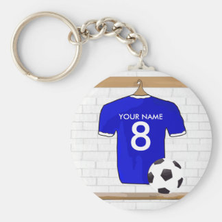 Personalized Blue White Football Soccer Jersey Basic Round Button Keychain