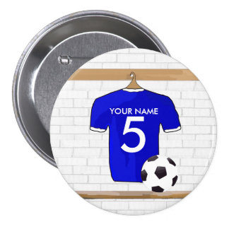 Personalized Blue White Football Soccer Jersey Pinback Button