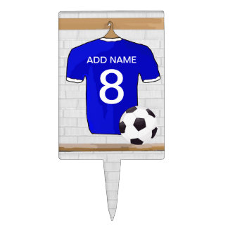 Personalized Blue White Football Soccer Jersey Cake Topper