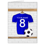 Personalized Blue White Football Soccer Jersey Card