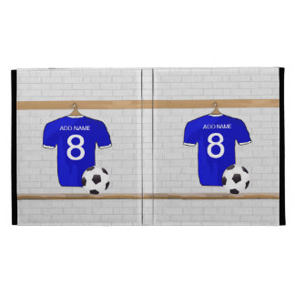 Personalized Blue White Football Soccer Jersey iPad Folio Covers
