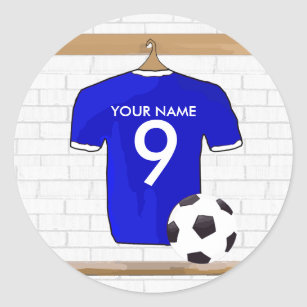 Personalised White /& Blue Football Shirt Wall Sticker With Your Name /& Number