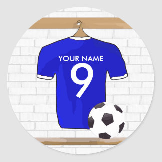 Personalized Blue White Football Soccer Jersey Classic Round Sticker