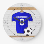 Personalized Blue White Football Soccer Jersey Clock