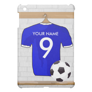 Personalized Blue White Football Soccer Jersey Cover For The iPad Mini