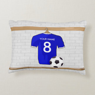 Personalized Blue White Football Soccer Jersey Decorative Pillow