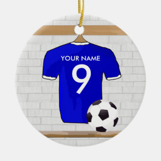 Personalized Blue White Football Soccer Jersey Double-Sided Ceramic Round Christmas Ornament