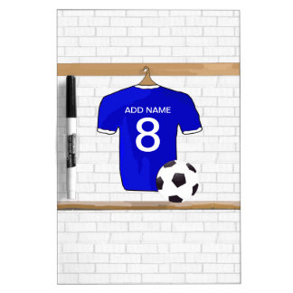 Personalized Blue White Football Soccer Jersey Dry Erase Whiteboards