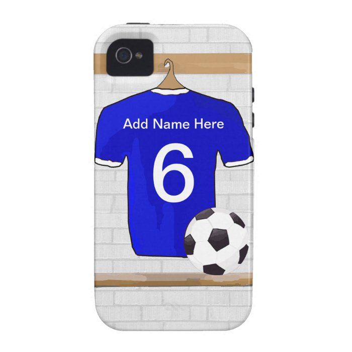 Personalized Blue White Football Soccer Jersey iPhone 4/4S Cover