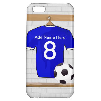 Personalized Blue White Football Soccer Jersey iPhone 5C Cover