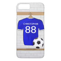 Personalized Blue White Football Soccer Jersey iPhone 7 Plus Case